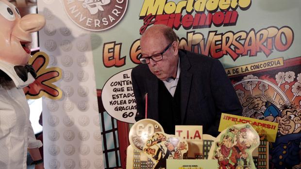 Ibáñez, ayer, durante la celebración del 60 aniversario de Mortadelo y Filemón