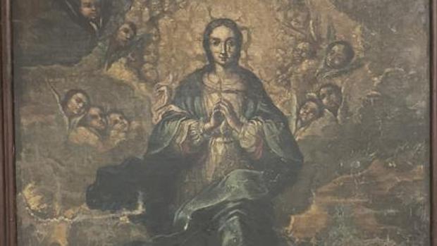 Detalle del cuadro de la Inmaculada del Monasterio de Sijena
