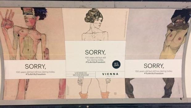 Los desnudos de Schiele, con su cartel protesta por la censura
