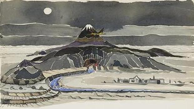 Sobre estas líneas, una de las ilustraciones de Tolkien para «El Hobbit»