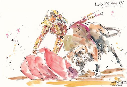 Luis Bolívar, que cortó una oreja, en el dibujo de Humberto Parra