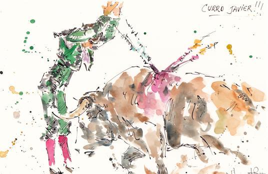 Par de banderillas de Curro Javier en el dibujo de Humberto Parra