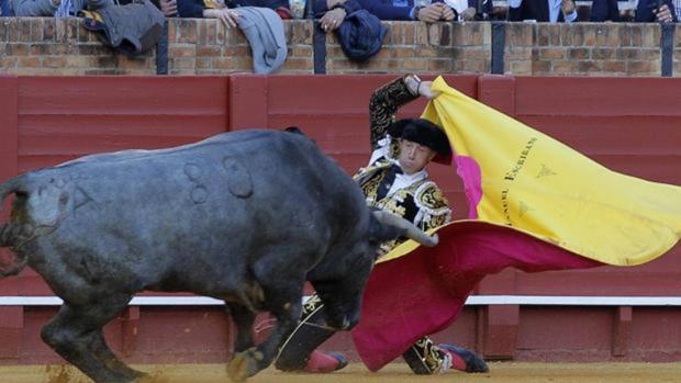 Manuel Escribano, en una larga cambiada de rodillas al quinto toro