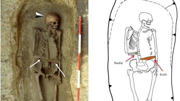 Imagen del esqueleto del siglo VIII