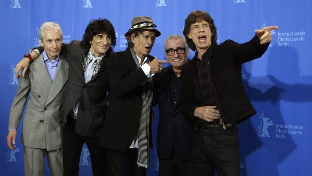 Scorsese, junto a los Rolling Stones durante la presentación del documental «Shine a Light»