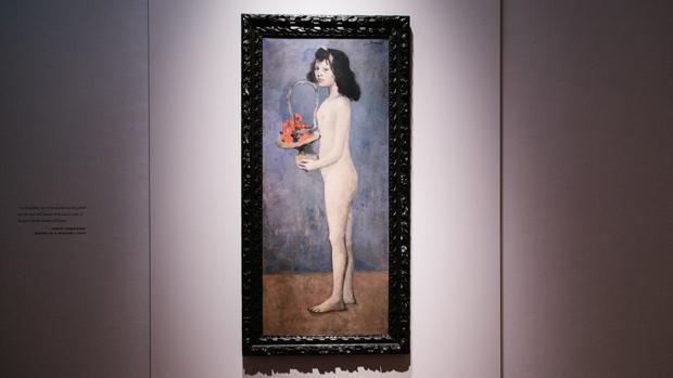 Vista de la obra «Joven con una cesta de flores» del artista español Pablo Picasso en la casa de subastas Christie's