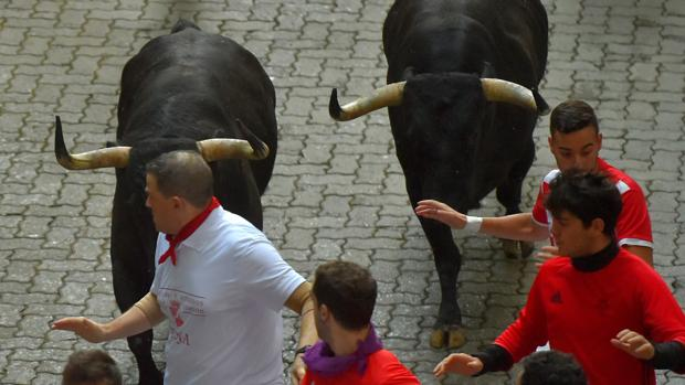 Un momento del encierro de los Victoriano del Río en Pamplona