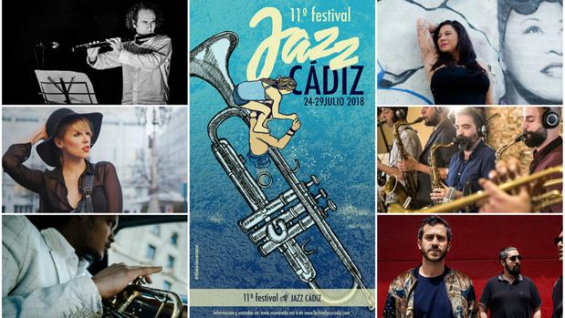 Cartel y algunos de los artistas de este Jazz Cádiz 2018