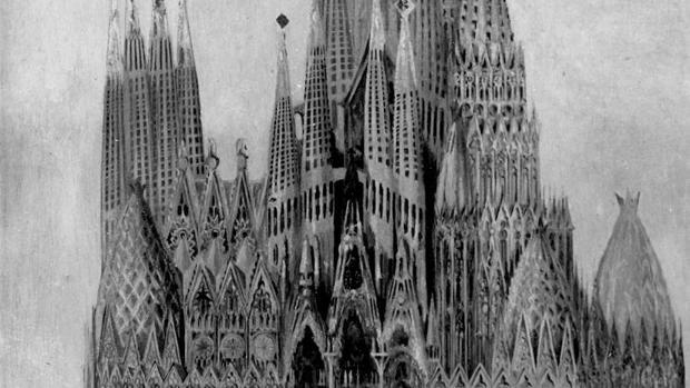 Detalle de una foto inédita de un dibujo de la Sagrada Familia, facilitada por la Universidad de Barcelona en 2016