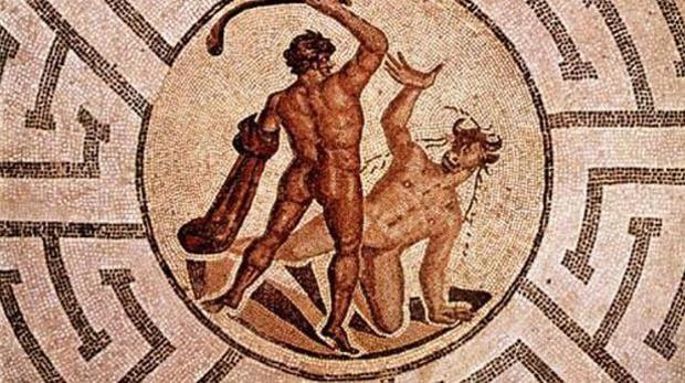 Mosaico que representa el mito de Teseo y el Minotauro en el laberinto