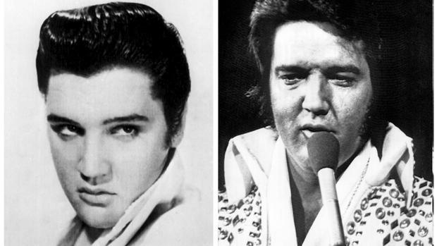 Combo de fotografías de Elvis, al comienzo de su carrera musical en 1956 (i), y durante una actuación en 1973