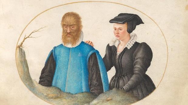Petrus Gonsalvus y su mujer, retratados por Joris Hoefnagel