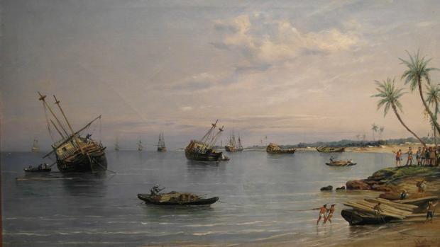 Hernán Cortés ordena dar al través sus navíos, por Rafael de Monleón y Torres (1887)