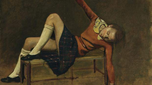 Detalle de «Thérèse sobre una banqueta» (1939), de Balthus