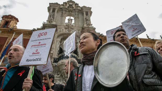 Protesta de los músicos de la Orquesta Ciudad de Granada frente a San Telmo el jueves pasado