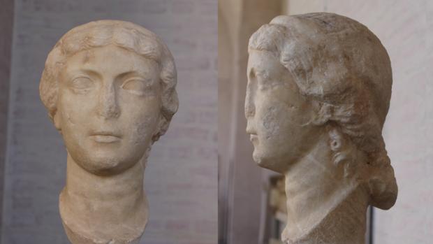 La cabeza de Antonia la Menor localizada en Múnich, de frente y de perfil