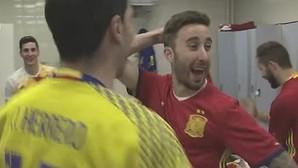 La loca celebración de la selección española de fútbol sala tras conquistar el Europeo