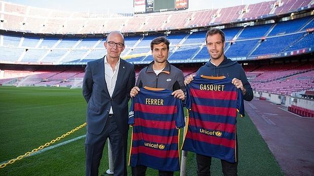 Cardoner, vicepresidente del Barcelona,, ha recibido a Ferrer y a Gasquet