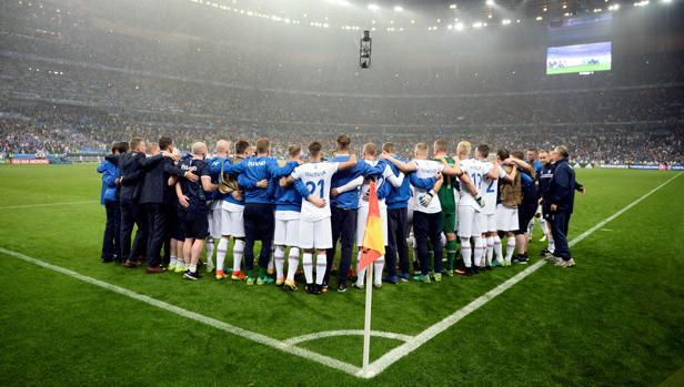 Los jugadores de Islandia, tras caer con Francia