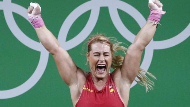 Lydia Valentín celebra el bronce conseguido en Río 2016