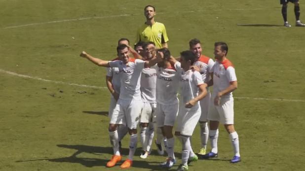 Los jugadores del Chiclana celebran el gol de Caballero