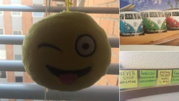 Estos son los mensajes y objetos que decoran la habitación de Bruno Hortelano en el hospital