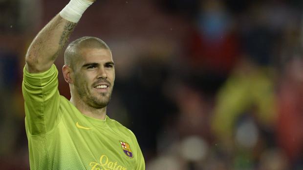 Valdés, en su etapa en el Barcelona