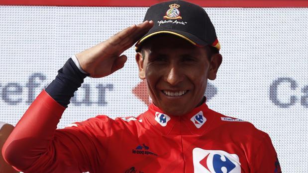 Nairo Quintana, en el podium