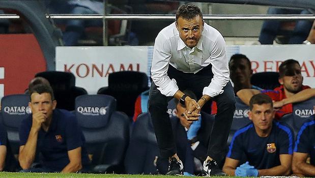 Luis Enrique, durante el partido ante el Alavés