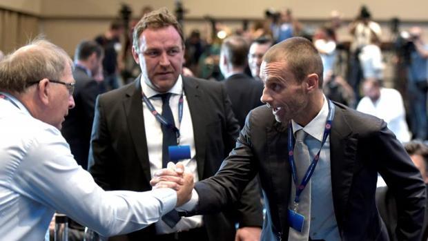 Ceferin, durante el Congreso Extraordinario de la UEFA que le ha escogido como presidente