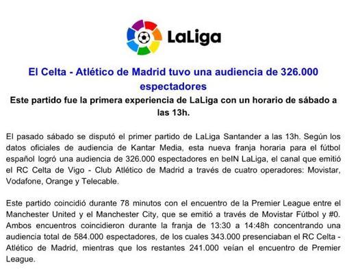 Comunicado de La Liga sobre la audiencia del Celta-Atlético de Madrid