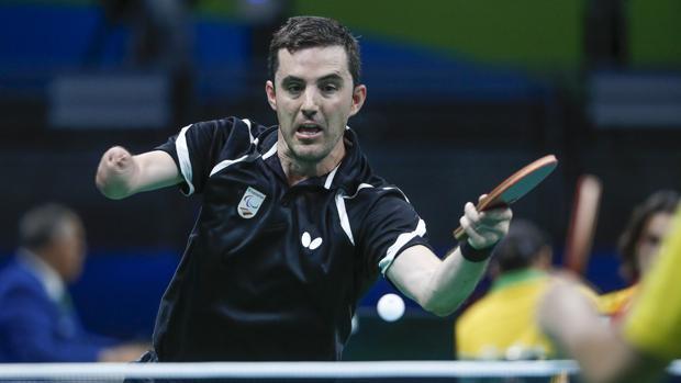 José Manuel Ruiz, durante uno de los encuentros del campeonato de tenis de mesa