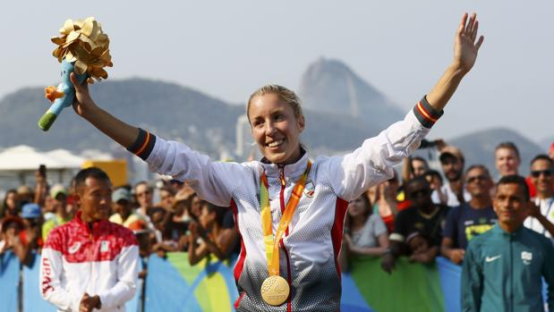Elena Congost, en el podio en Copacabana