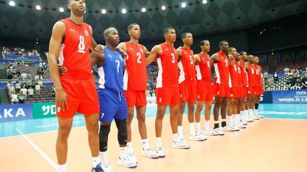 La sxelección cubana de voleibol, durante su participación en la Liga Mundial