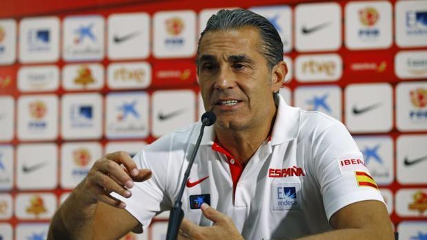 Sergio Scariolo, durante una rueda de prensa con la selección española de baloncesto