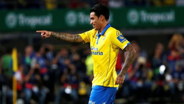 Sergio Araujo, en el partido que enfrentó a Las Palmas con el Real Madrid