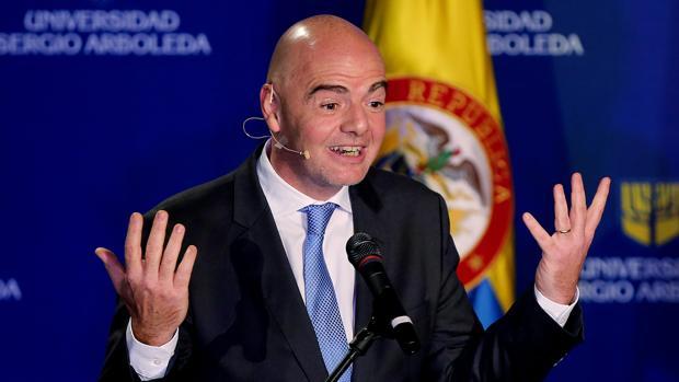 Gainni Infantino, durante su comparecencia en Colombia