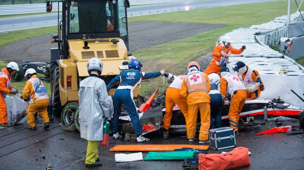 Imagen de los minutos posteriores al accidente de Jules Bianchi