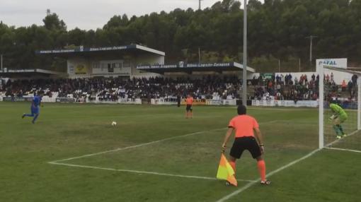 Penalti que dio la clasificación al Formentera ante el Tudelano