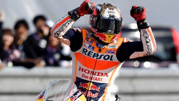 Márquez celebra su título en Japón
