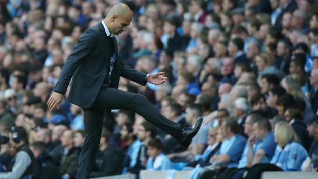 Guardiola, en el último partido de la Premier frente al Everton