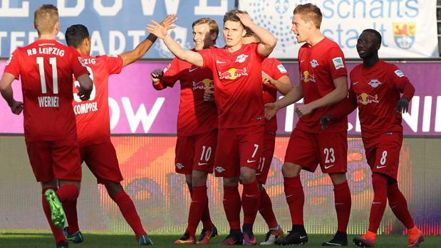 Los jugadores del Leipzig celebran un tanto en su partido de la anterior jornada