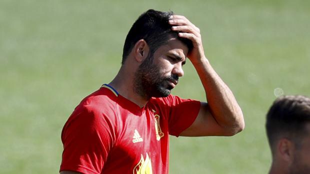 Diego Costa, en un entrenamiento de la selección