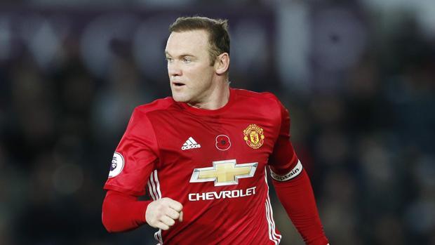 Rooney, durante un partido con el United