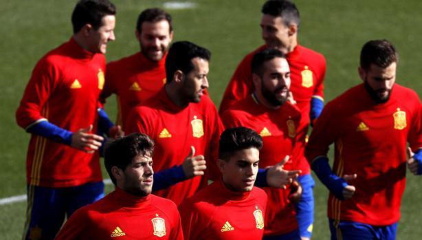 Los jugadores de la selección, en Las Rozas
