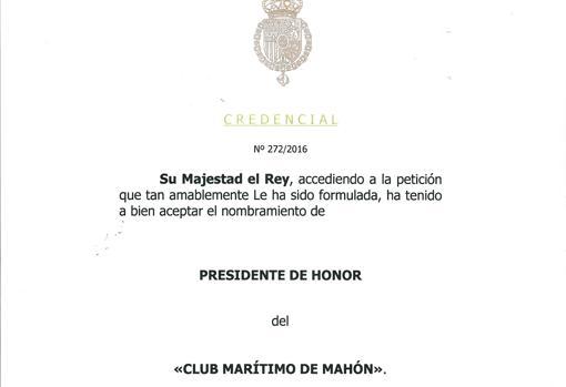 Felipe VI, presidente de honor del Marítimo de Mahón