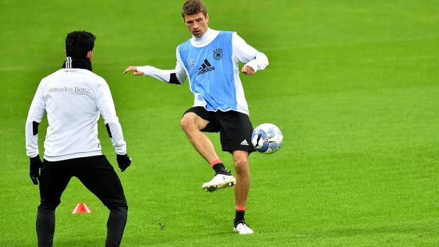 Muller, en un entrenamiento con la selección alemana