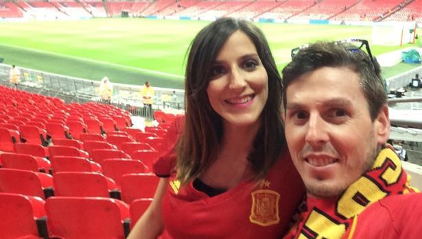 Dos hinchas españoles en Wembley