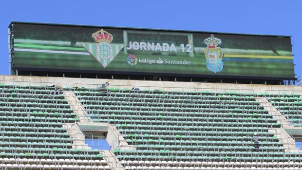 El nuevo videomarcador ya está situado en el Gol Norte del Villamarín