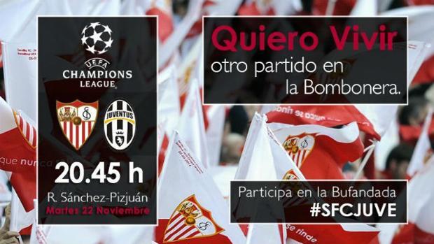 El Sevilla convoca a una gran bufandada en los prolegómenos del partido ante la Juventus